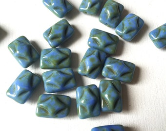 Blue Texture Rectangle Czech Glass Beads