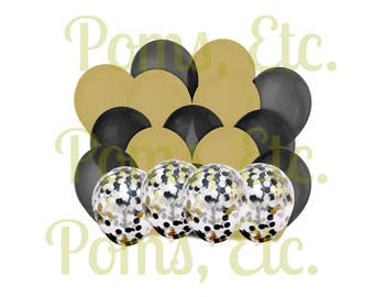black and gold party theme- Photo Prop Pack- Confetti Balloons-/ gold/ black/ black tie/ toast/ pop clink fizz