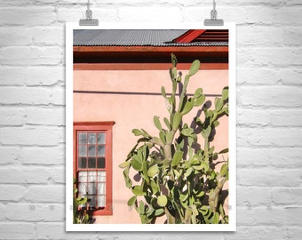 Southwest Decor, Tucson Photograph, Cactus Art, Tucson Gift, Southwestern Architecture Art, Barrio Viejo, Old Tucson Picture, Arizona Gift