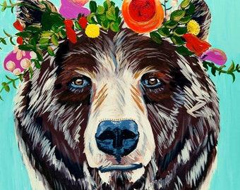 Woodland Bear with Flowers, Nursery Wall Art, Girls Room Decor,Blue, Aqua, 11x14, Willow Branch Studio, Gift for her
