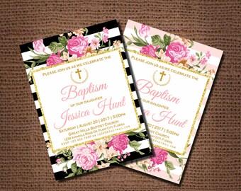 GIRL BAPTISM INVITATION, Pink Baptism Invitation, Pink Gold Baptism Invitation, Baptism invitation, Floral, printable, black