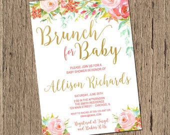 floral baby shower invitation, brunch for baby invitation, girl baby shower invite, watercolor pink and gold, boho baby shower, printable