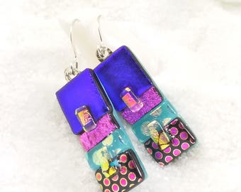 Fused glass jewelry, dichroic earrings, fused dichroic jewelry, glass fusion, fused glass art, blue earrings, jewelry handmade, trending now