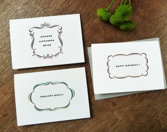 Personalized Note Cards - Cartouche Printable Templates