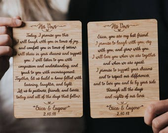 Engraved vows etsy personalized wedding vows set of 2 custom wedding vows wedding vows wedding gift unique wedding gift wedding vow keepsake etched vow junglespirit Gallery