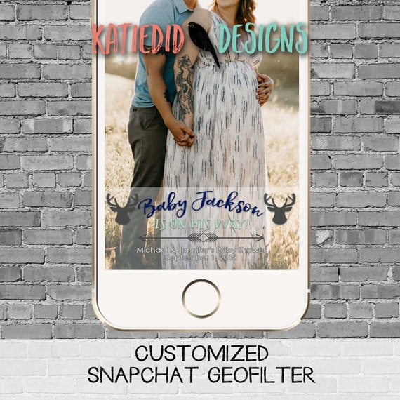 snapchat filter adventure awaits deer woodland baby shower boy navy mint couples coed rustic tribal arrows birthday twins | 1238b Katiedid