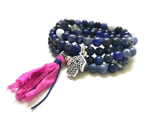 Sodalite Mala Bead, Wrap Bracelet, Mala Necklace For Self Acceptance, Aquamarine Mala, 108 Bead Mala On Stretch Cord, Sari Silk Tassel Mala