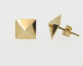 Gold Pyramid Earrings Studs, Square Stud Earrings in 14K Yellow or White Gold, Celebrity Jewelry, Cameron Diaz, Charlize Theron