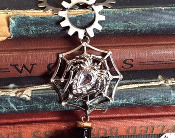 Steampunk Spider, Steampunk Jewelry, Spider Pendant, Steampunk Necklace, Spider Web Necklace