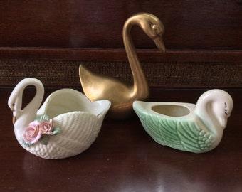 Lot of 3 Vintage Swans