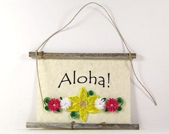 Aloha, Hawaiian Welcome, Paper Quilled Welcome Sign, 3D Quilled Banner, Yellow White Magenta Pink Decor, Hawaii Gift, Rustic Hawaii Decor