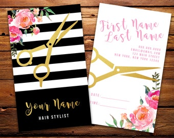 Custom hair stylist business cards professionally printed hair stylist business cards salon barber cards custom black white striped watercolor florals reheart Images