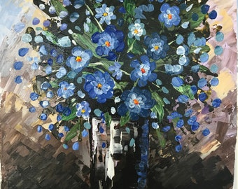 Impasto Flowers in a Vase - 11 x 14 Palette Knife Painting - Handmade One of a Kind