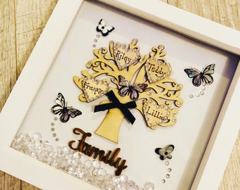 Personalised family tree box frame
