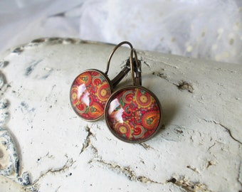 Red cashmere pattern lever back cabochon earrings, vintage bronze dangle earrings, glass dome earrings, stud earrings with cabochon