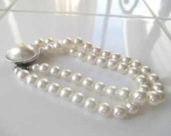 Faux Pearl Bracelet * Double Strand * Silvertone Accent * Vintage Classic * Bridal * Gift For Lady