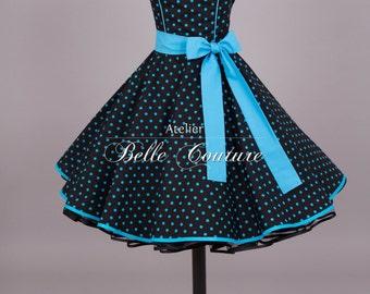 Custom made & handmade-50s petticoat black/turquoise style. M17