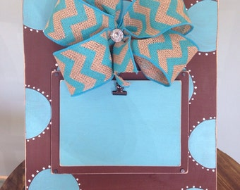 Brown/Turquoise Polka Dot Distressed Picture Frame