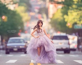 LIMITED EDITION Lavender Rose Couture Hi-Low Hem Tutu Dress