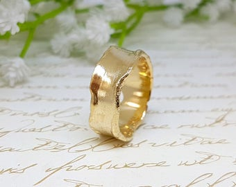 Gold Wedding Band, Alternative Wedding Ring, Gold Stacking Rings, Wide Wedding Band, His and Hers Promise Ring, Unique Wedding Band, Unisex