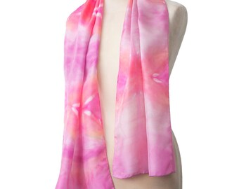 "Mother's Day gift idea - luxury pink silk scarf. Hand dyed silk shibori scarf. Handmade designer boho women's scarf. 150cm or 60"" long"