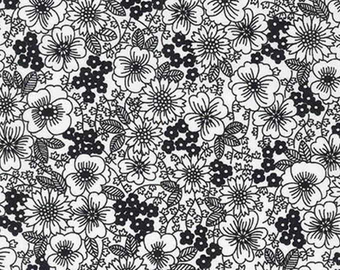 London Calling Lawn 6 - Flowers Black - 1/2 yard