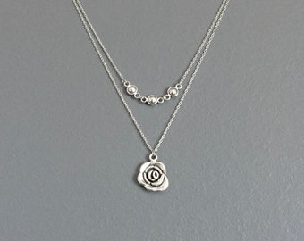 WAS 26.00, layered ROSE silver necklace, casual, simple, everyday, charm, circles, dots, flower
