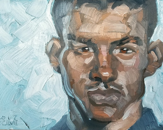Dominique was a Rent Boy who Longed to Better Himself, oil on canvas panel 9 x 12 inches Kenney Mencher