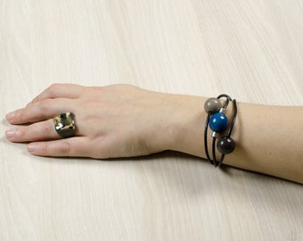 Bracelet SIFTER blue / gray / Chrome - jewelry / Tagua / vegetable ivory / natural / ethical / fair trade / woman / Ecuador