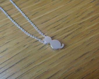 cute cat silver necklace