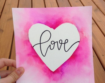 Love lettering and watercolor