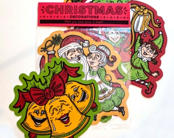"""Set of Four Christmas - Vintage Inspired - 11"""" Cut Out Decorations"""