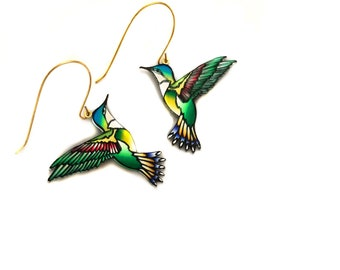 Hummingbird Earrings, Colibri earrings, Bird Earrings, Earrings For Mum, Mothers Day Gift, Gift For Mum, Spring, Summer, Gold, Romantic gift