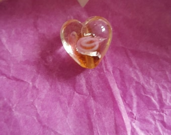Lampwork Glass floral coffee 12x12mm heart beads. (8152161)