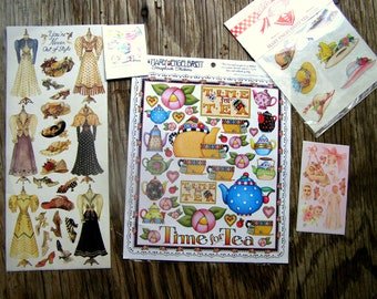 73 Sticker Lot-Mary Engelbreit, Hats, Vintage fashion Sandy Clough-Teapots-Tea-