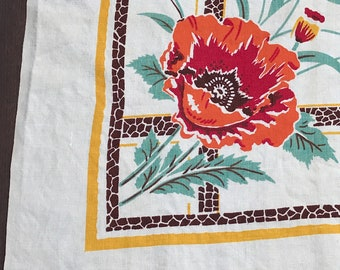 Vintage Linen Tablecloth with Red Poppies