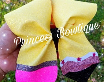Pencil bow,Back to school bows,  school bows,  cheer bows,  school bow, pencil cheer bow