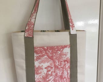 Pink and canvas tote bag