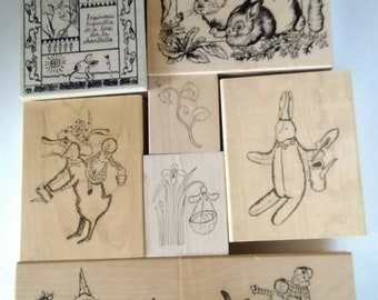 Mounted Rubberstamps Collection of 15 Theme of Bunnies and Garden