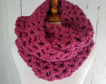 Melanie Long Cowl. Ready to Ship//RASPBERRY PINK Infinity Scarf//Crochet Scarf