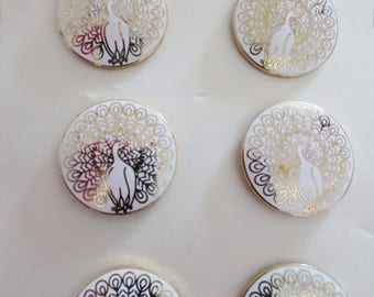 """Cloisonné Buttons Peacock Vintage Gold Metal White Enamel Shank 7/8"""" 22mm-6 pieces Six Carded Japan Made RARE"""