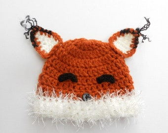 Crochet fox hat, baby fox hat, fox beanie, newborn photo prop, newborn fox hat, coming home outift, baby boy clothes, baby girl clothes