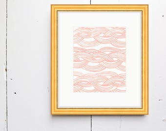 Braided Waves Watercolor Print - SMc. Originals, watercolor, rustic, modern, original artwork, watercolor print, simple, pattern print