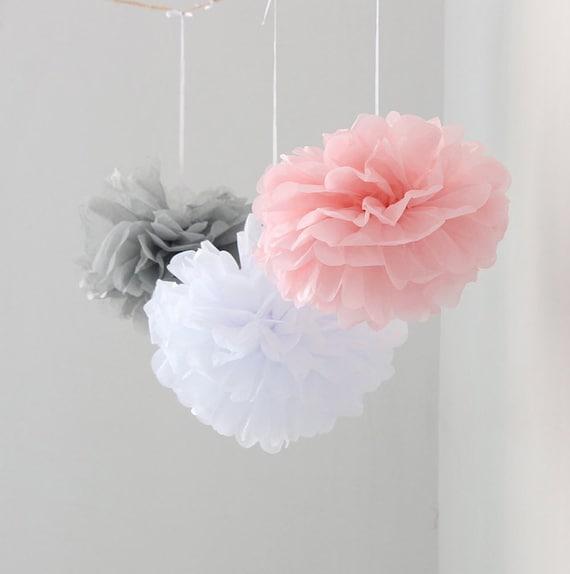 12pcs mixed pink gray white tissue paper flower pom poms mightylinksfo