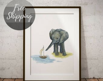 Elephant nursery wall art safari animals watercolor print Nursery wall decor gender neutral gift for baby prints nursery pictures on canvas