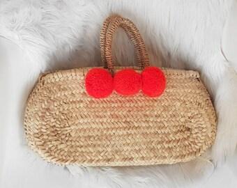 Beldi basket and its 3 tassels. Basket bag. Moroccan tote. Customizable.