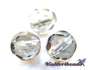 Fire polished Czech Glass Beads 8 mm - Black Diamond