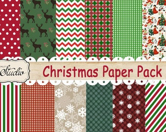 Christmas Scrapbook Paper, Red and Green Digital Paper, Instant Download,  Digital background Paper, Red and green stripe paper, snowflakes