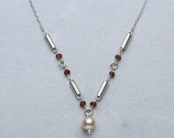 Modern Pearl & Garnet Necklace, Modern Pearl Necklace, Modern Garnet Necklace, Industrial Necklace, Minimalist Necklace, Pearl and Garnet
