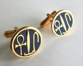 Museum Reproduction Hieroglyphic Cufflinks with Ankh